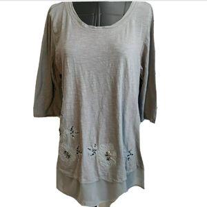 Logo Lori Goldstein Tunic Top Shirt M Slub Knit